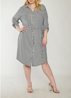 Plus Size Striped Metallic Button Front Dress - 1390056125557