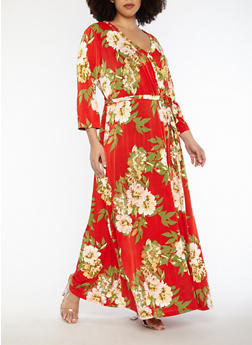 Plus Size Floral Faux Wrap Belted Maxi Dress - 1390056125558