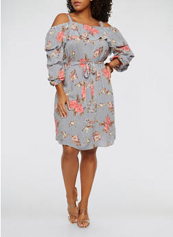 Plus Size Floral Striped Off the Shoulder Dress - 1390056125559