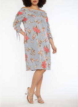 Plus Size Printed Off the Shoulder Dress - 1390056125560