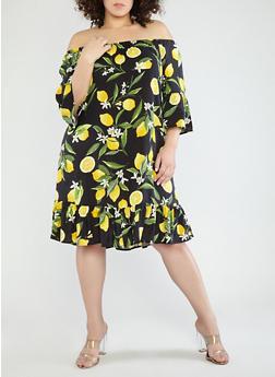 Plus Size Lemon Print Off the Shoulder Dress - 1390056125566