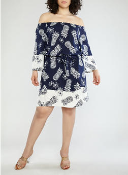 Plus Size Pineapple Border Print Off the Shoulder Dress - 1390056125590