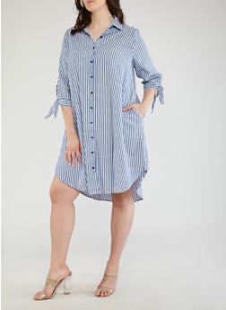 Plus Size Striped Shirt Dress - 1390056125650