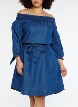 Plus Size Tie Sleeve Off the Shoulder Denim Dress - 1390056125660