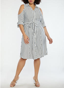 Plus Size Striped Cold Shoulder Dress - 1390056125661