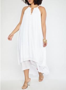 Plus Size Gauze Knit Maxi Dress - WHITE - 1390056125670