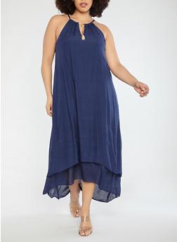Plus Size Gauze Knit Maxi Dress - 1390056125670