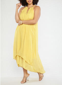 Plus Size Gauze Knit Maxi Dress - 1390056125670