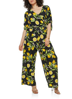 Plus Size Lemon Print Faux Wrap Jumpsuit - 1390056125671