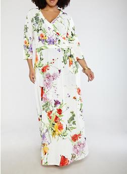Plus Size Faux Wrap Printed Dress - 1390056125694