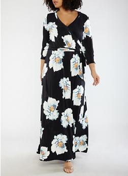 Plus Size Floral Faux Wrap Maxi Dress - 1390056125697