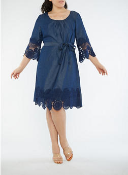 Plus Size Denim Knit Crochet Trim Dress - 1390056125745