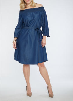 Plus Size Off the Shoulder Denim Dress - 1390056125746