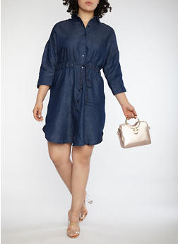 Plus Size Tie Waist Denim Dress - 1390056125748