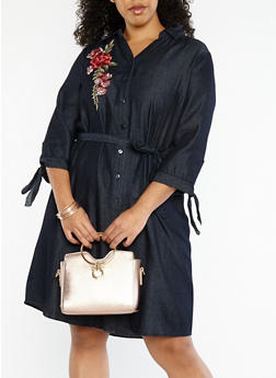 Plus Size Floral Applique Denim Dress - 1390056125749
