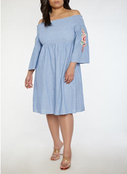 Plus Size Rose Patch Off the Shoulder Chambray Dress - 1390056125752