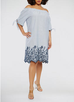 Plus Size Striped Off the Shoulder Dress - 1390056125753