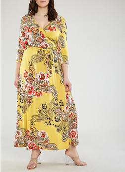 Plus Size Paisley Faux Wrap Maxi Dress - 1390056125848