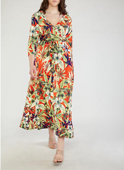 Plus Size Faux Wrap Tropical Print Dress - 1390056125850