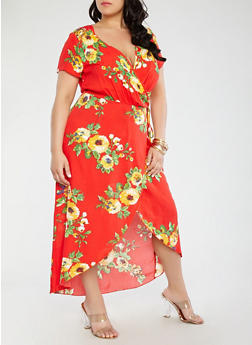 Plus Size Floral Wrap Dress - 1390056126740