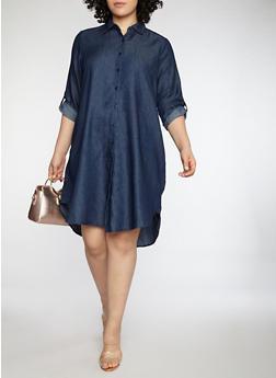 Plus Size Button Front Denim Dress - 1390056127506