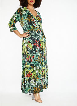 Plus Size Tropical Print Faux Wrap Maxi Dress - 1390056127508