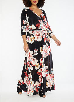 Plus Size Floral Faux Wrap Maxi Dress - 1390056127509