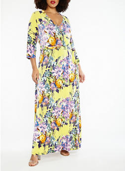 Plus Size Faux Wrap Floral Maxi Dress - 1390056127510