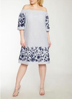 Plus Size Off the Shoulder Embroidered Border Dress - 1390056127528