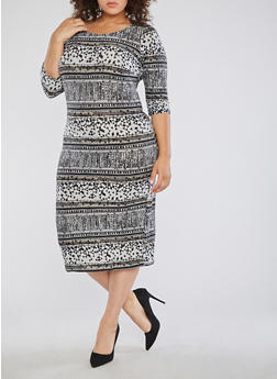 Plus Size Printed Bodycon Dress - 1390056127715