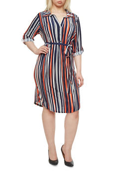 Plus Size Striped Belted Shirt Dress with Convertible Sleeves,NAVY,medium