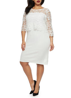 Plus Size Knit Dress with Lace Overlay - 1390056129019