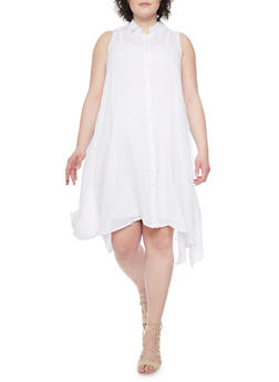 Plus Size Sleeveless Swing Shirt Dress - WHITE - 1390056129025