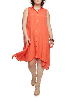 Plus Size Sleeveless Swing Shirt Dress - 1390056129025