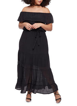 Plus Size Ruffled Off the Shoulder Maxi Peasant Dress - BLACK - 1390056129226