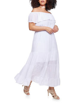 Plus Size Ruffled Off the Shoulder Maxi Peasant Dress - WHITE - 1390056129226