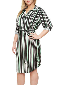 Plus Size Striped Shirt Dress With Belt,BLACK,medium