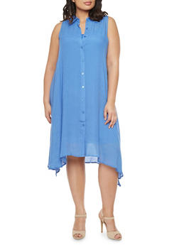 Plus Size Dress with Button Front - 1390056129262