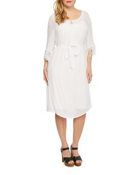 Plus Size Dress with Eyelet Lace Fringe at Sleeves - 1390056129265