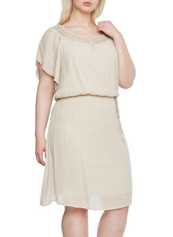 Plus Size Flutter Sleeve Dress with Crochet Trim - 1390056129267