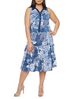 Plus Size Abstract Print Maxi Dress with Button Front - 1390056129278