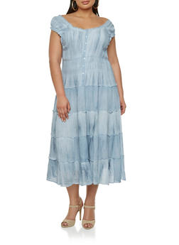 Plus Size Peasant Dress with Ruffle Trim and Button Front - 1390056129281