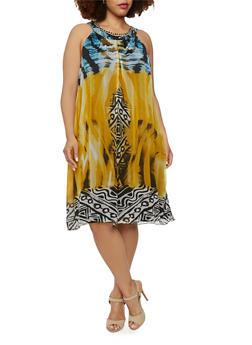 Plus Size Tribal Print Chiffon Shift Dress with Embellished Neckline - 1390056129347