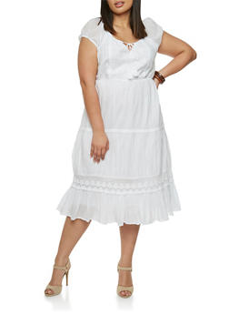 Plus Size Short Sleeve Peasant Dress with Tied Split Neck - 1390056129352