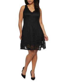 Plus Size Sleeveless Lace Skater Dress - BLACK - 1390058751090