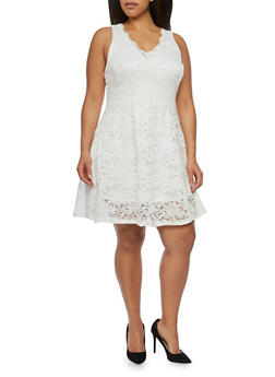 Plus Size Sleeveless Lace Skater Dress - IVORY - 1390058751090