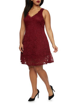 Plus Size Sleeveless Skater Dress in Lace - 1390058751090