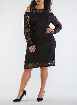Plus Size Lace Cold Shoulder Dress - 1390058751834