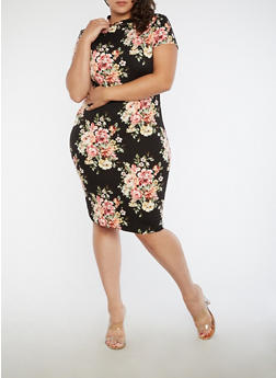 Plus Size Soft Knit Floral T Shirt Dress - 1390058751848