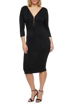 Plus Size 3/4 Sleeve Midi Dress with Zip Neck - BLACK - 1390058752051